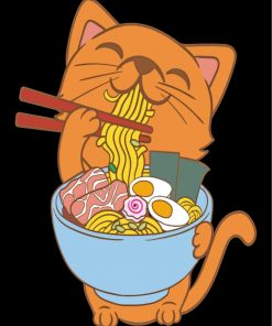 Cat Eating Ramen Paint by Numbers