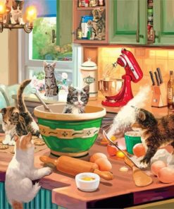 Cats In The Kitchen Paint by numbers