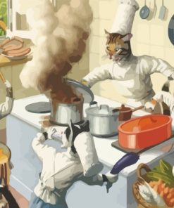 Chef Cats Cooking Paint by numbers