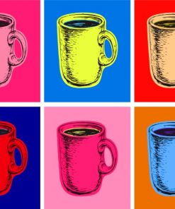 Coffee Cups Pop Art Paint by numbers