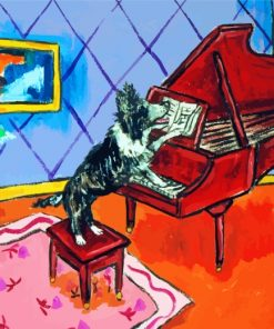 Collie Dog Playing Piano Paint by numbers