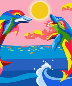 Colorful Dolphins Paint by numbers