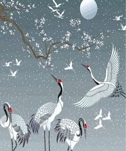 Cranes-paint-by-numbers