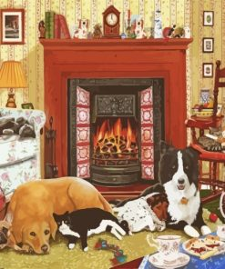 Dogs And Cats In House Paint by numbers