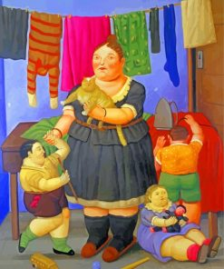 Fat Mother And Children Paint by numbers
