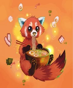Fox Eating Noodles Paint by numbers