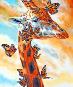 Giraffe-and-Monarch-Butterflies-paint-by-numbers