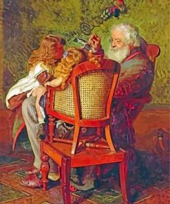 Grandfather And Kids Paint by numbers
