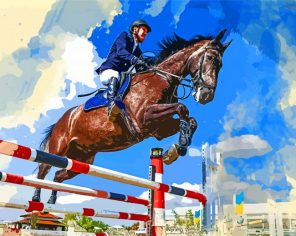 Horse Rider Jumping Paint by numbers