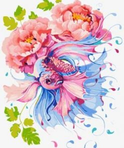 Betta Fish Peony Flower paint by numbers
