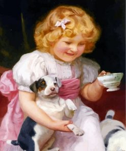 Little Girl And Puppy Paint by numbers