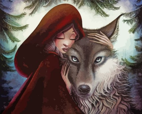 Little Red Riding With Wolf Paint by numbers