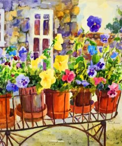 Pandy Plants Pots Paint by numbers