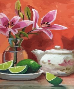 Pink Lilies Art Paint by numbers