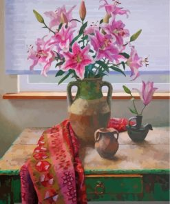 Pink Lilies Vase Paint by numbers
