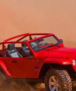 Red Jeep Car In Desert Paint by numbers