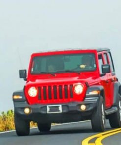Red Jeep On Road Paint by numbers