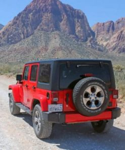 Red Jeep Wrangler In Nevada Paint by numbers