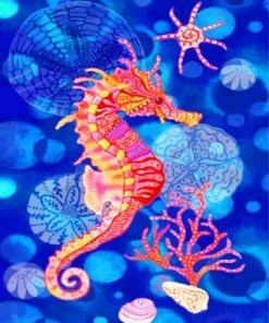 Pink Yellow Seahorse Paint by numbers