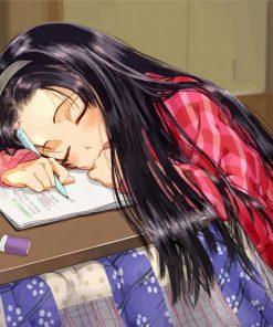 Sleepy Anime Girl Paint by numbers
