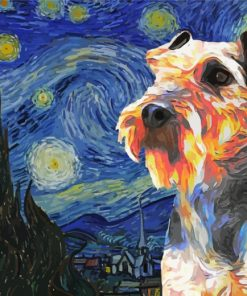 Starry Night Wirehaired Pointing Griffon Paint by numbers