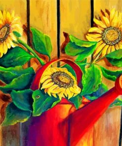 Sunflowers In Watering Pail Paint by numbers