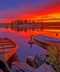 Sweden-Sunrises-Boat-paint-by-number