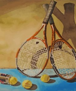 Tennis Game Rackets And Balls Paint by numbers