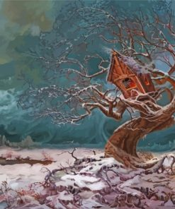 Winter Tree House Paint by numbers