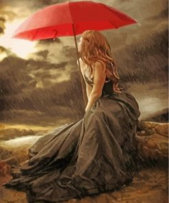 Woman Holding Red Umbrella Paint by numbers