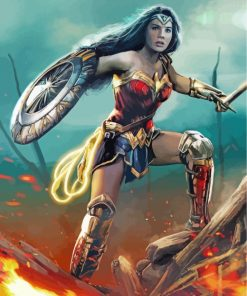 Wonder Woman With Shield Paint by numbers