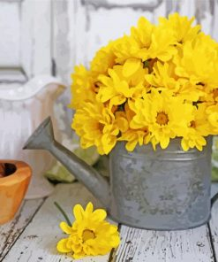 Yellow Flowers In Watering Pail Paint by numbers