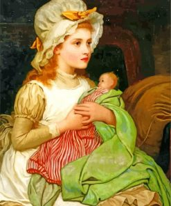 Young Child With Doll Paint by numbers