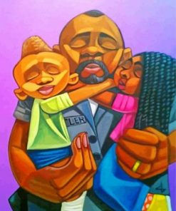Aesthetic Black Dad And His Kids Paint By Numbers