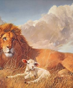 aesthetic-lion-and-lamb-paint-by-number