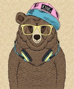 Bear With Headphones Paint by numbers