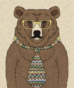 Bear With Tie Paint by numbers