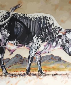 Black And White Nguni Cattle Paint by numbers