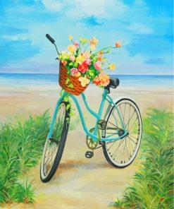 Blue Bike And Flowers