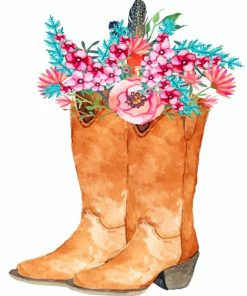 brown-boot-and-flowers-paint-by-numbers