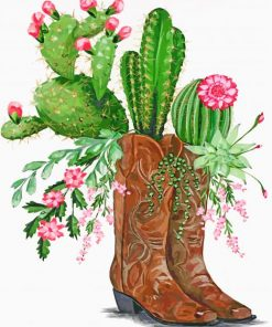 cactus-and-boots-paint-by-numbers