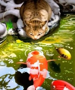 Cat Watching Koi Fish paint by numbers