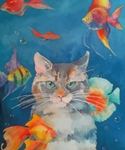 Cat With Fishes In The Water Paint by numbers