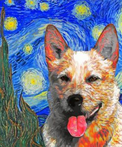 cattle-dog-Red-Heeler-starry-night-paint-by-number