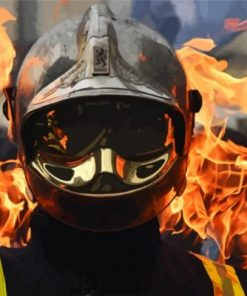 Cool Firefighter Man Paint by numbers
