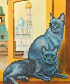 Cute Russian Blue Cats Paint by numbers