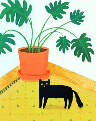cute-cat-and-Philodendron-paint-by-numbers