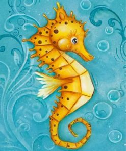 Cute Yellow Seahorse Paint by numbers
