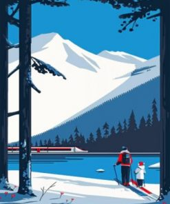 Family Skiing Time Paint by numbers