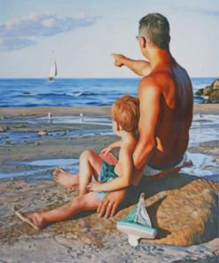 Father And Son Enjoying The Summer Paint by numbers